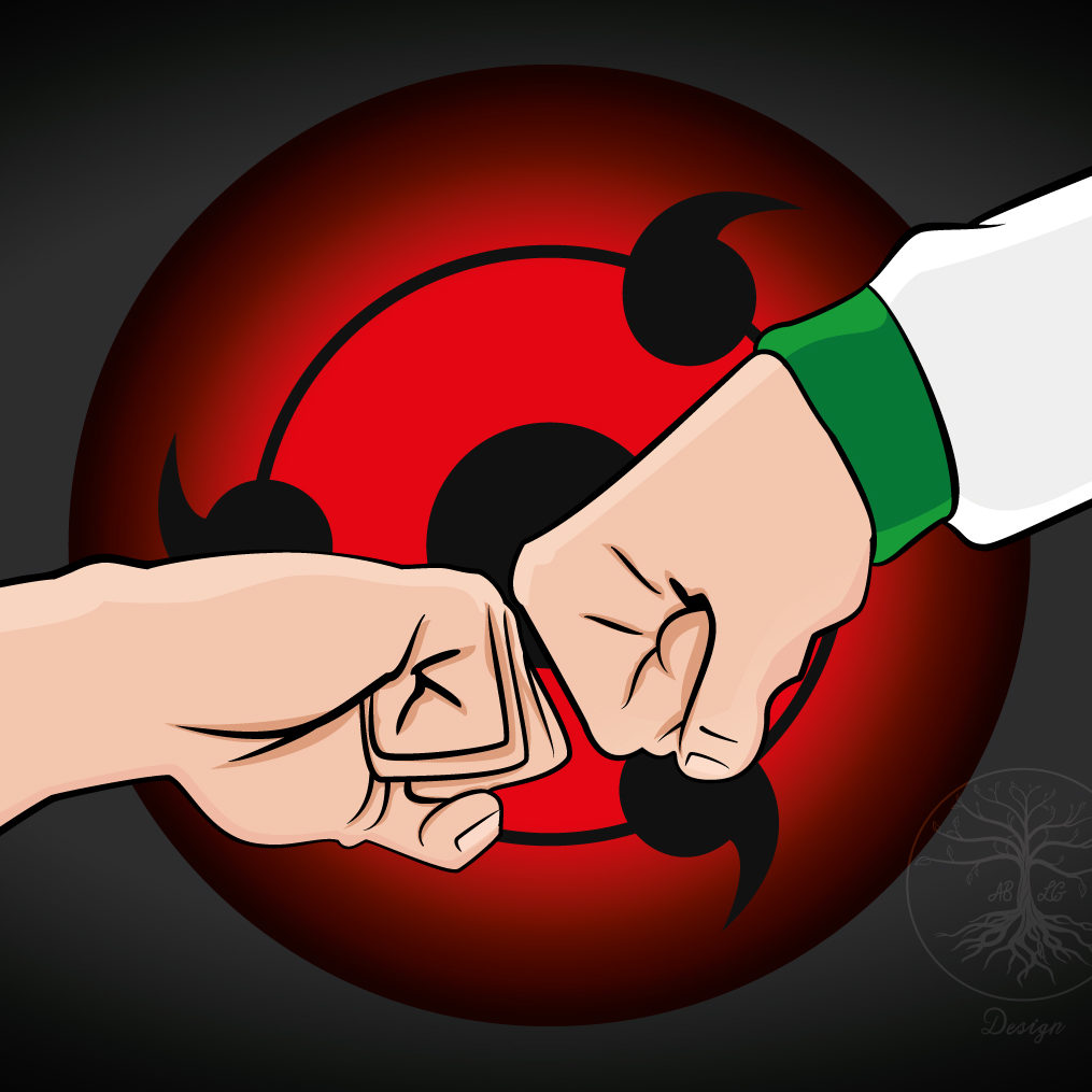 An illustration of two fists connecting in way of respect, with a red sharingan behind in reference to the anime series Naruto.