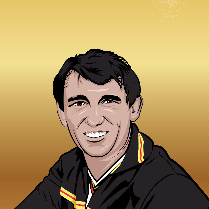 An image of a vector illustration of Graham Taylor on a gold background.