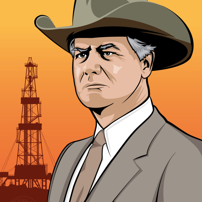 An image of a vector illustration of JR Ewing from the american sitcom Dallas.