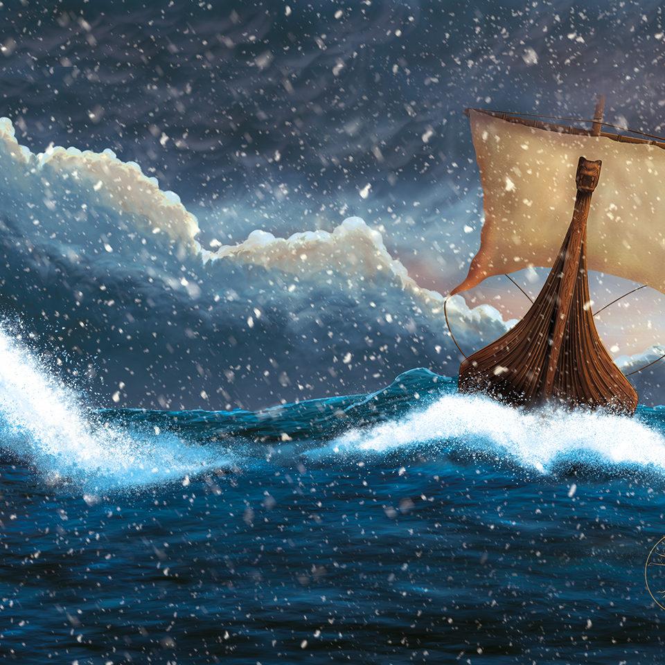 """Ægir's Will"" An image of an illustration of a viking ship sailing through a snow storm."