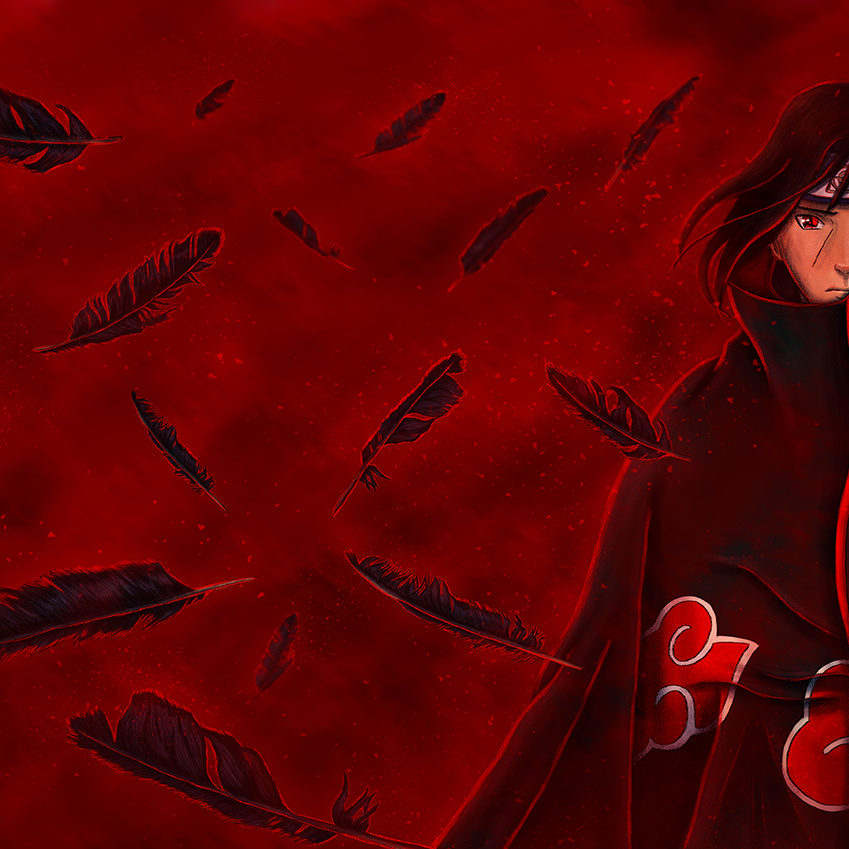 An image of an illustration for the character Itachi Uchiha surrounded by burning feathers from the anime series Naruto.