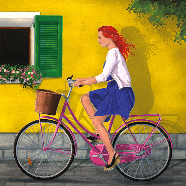 An illustration of a red haired woman riding a pink bike in front of a yellow facade wall down a cobble street.