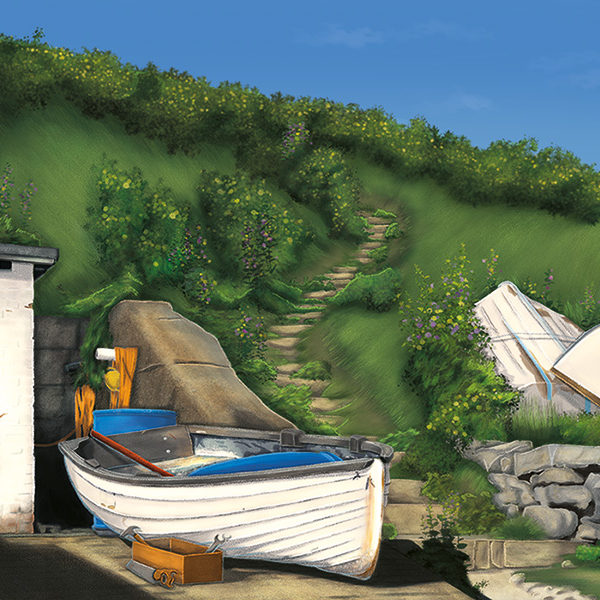 An illustration of a little boat in front of a green hill at the shores of Lulworth Cove in the South English coast of Dorset.