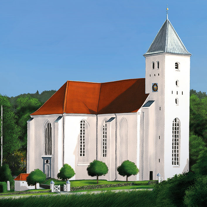 An illustration of the church in Mariager, Denmark.