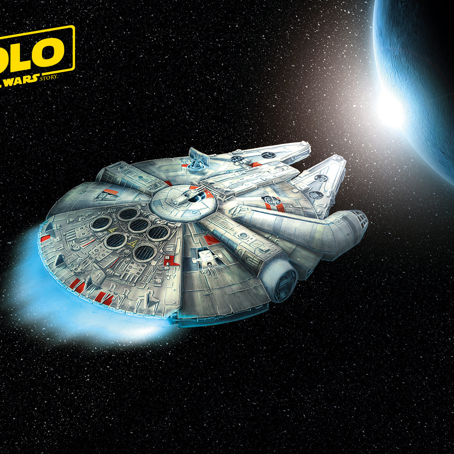 An alternate movie poster of Solo: A Star Wars Story featuring a digital painting of the Millennium Falcon.