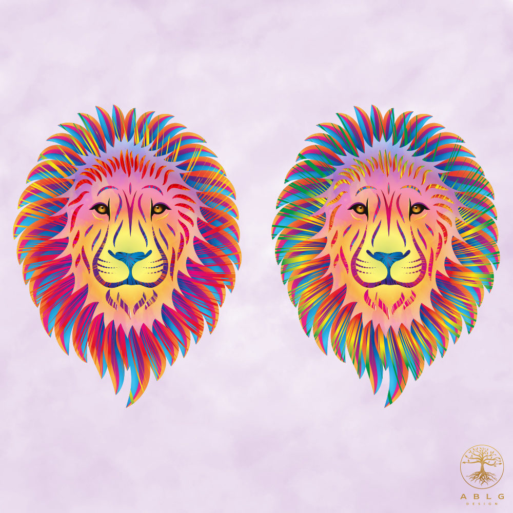 An image of two abstract lions in vibrant colours.