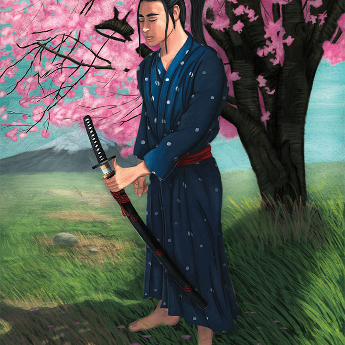 Illustration of a Samurai in deep reflection under the shadow of a cherry blossom tree.
