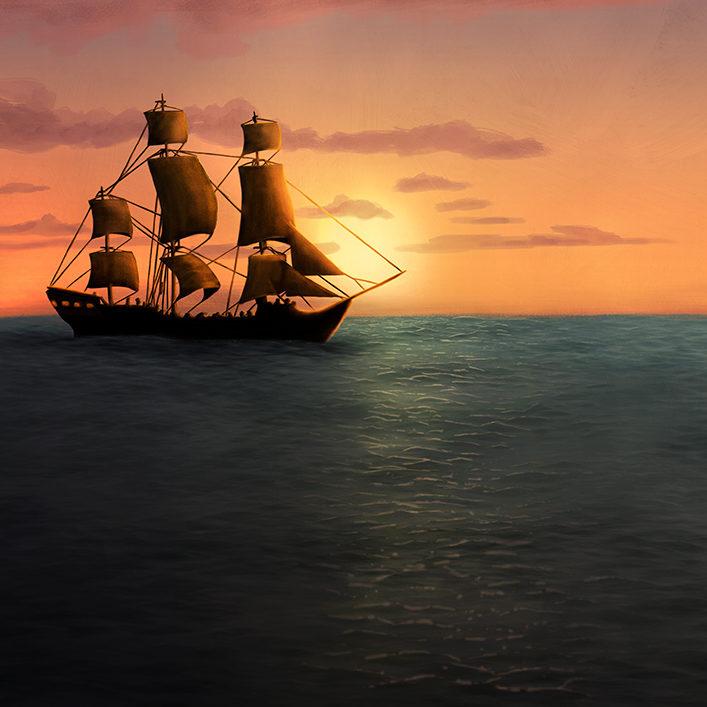 Illustration of a sail ship, sailing on the horizon on a calm sea.